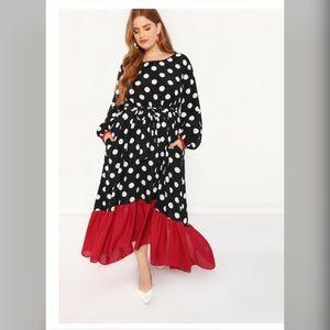 Beautiful red and black polka dot dress